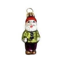 """Miniature Dwarf in Green Jacket Blown Glass Ornament ~ Poland ~ 2"""" tall"""