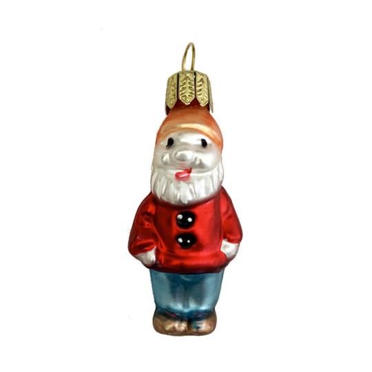 """Miniature Dwarf in Red Jacket Blown Glass Ornament ~ Poland ~ 2"""" tall"""