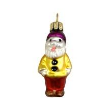 """Miniature Dwarf in Yellow Jacket Blown Glass Ornament ~ Poland ~ 2"""" tall"""