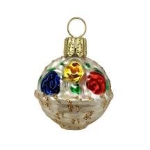 """Miniature Flower Basket Blown Glass Ornament ~ Poland ~ 1-1/2"""" tall"""