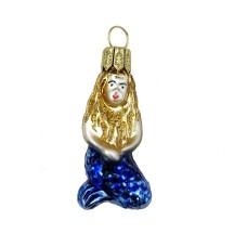 """Miniature Mermaid Blown Glass Ornament ~ Poland ~ 2"""" tall"""