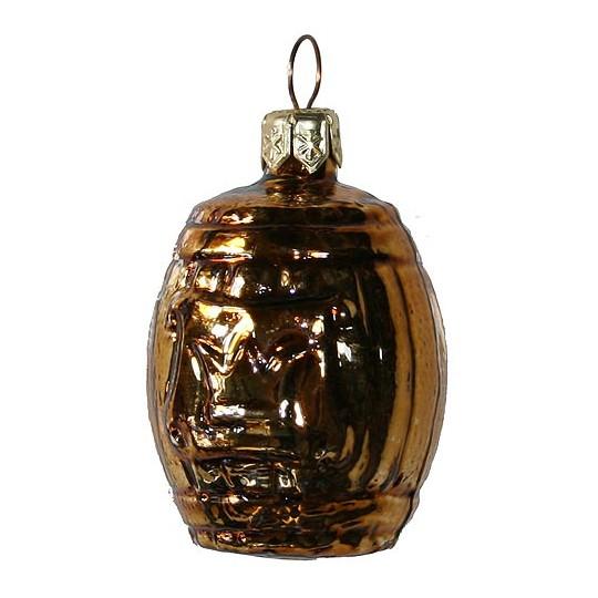 "Small Shiny Bronze Barrel Ornament ~ Germany ~ 2"" tall"