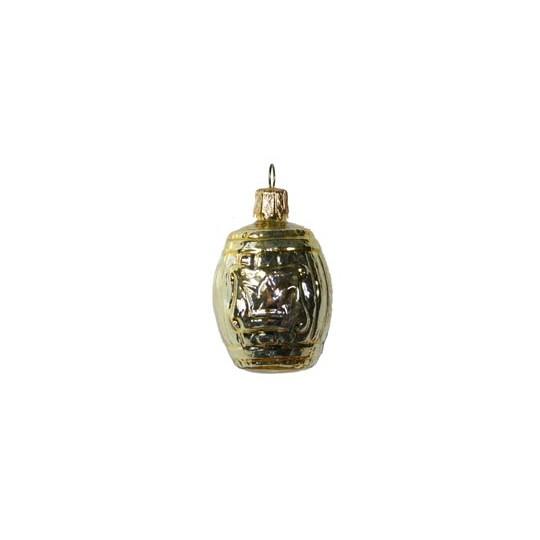 "Small Shiny Gold Barrel Ornament ~ Germany ~ 2"" tall"