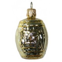 "Small Shiny Gold Barrel Ornament ~ Germany ~ 2"" tall"