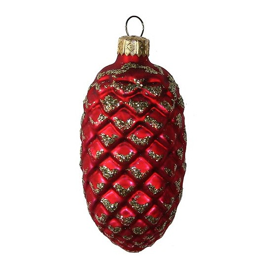 "Matte Red Blown Glass Pine Cone ~ Poland ~ 3"" tall"