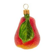 Medium Frosted Blown Glass Pear ~ Germany