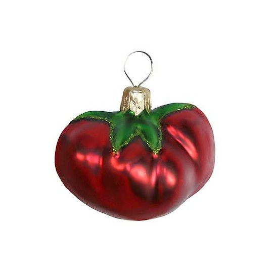 Blown Glass Tomato Ornament ~ Poland