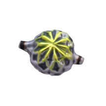 Large Silver and Chartreuse Fancy Victorian-style Star Blown Glass Bead ~ Germany ~ 1-1/2""
