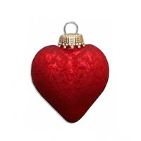 Red Blown Glass Heart Ornament ~ Germany