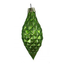 Matte Green Blown Glass Quilted Drop Ornament ~ Germany