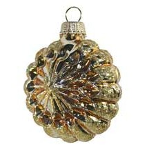 Shiny Gold Blown Glass Glittered Sunburst Ornament ~ Germany