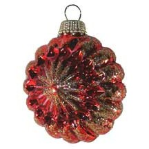 Shiny Red Blown Glass Glittered Sunburst Ornament ~ Germany