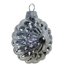 Shiny Silver Blown Glass Glittered Sunburst Ornament ~ Germany