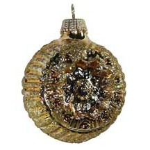 Shiny Gold Blown Glass Glittered Flower Indent Ornament ~ Germany