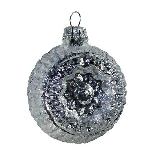 Shiny Silver Blown Glass Glittered Flower Indent Ornament ~ Germany