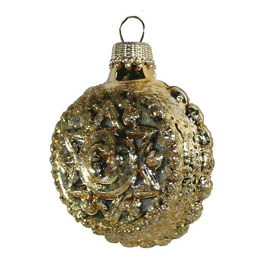 Shiny Gold Blown Glass Glittered Star and Flower Ornament ~ Germany