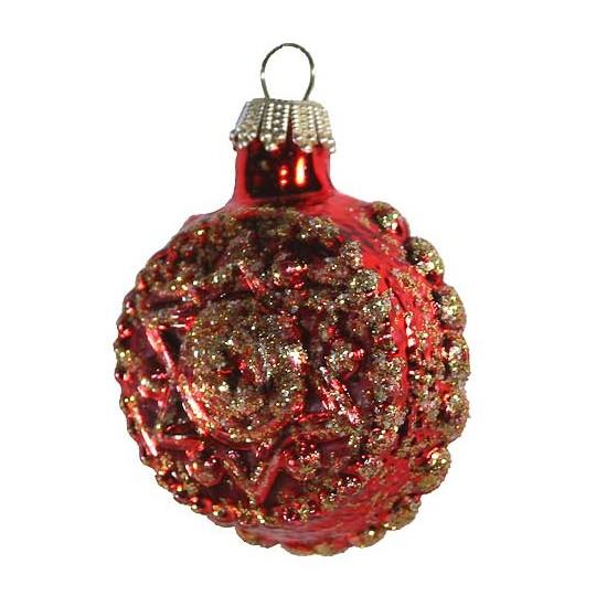 Shiny Red Blown Glass Glittered Star and Flower Ornament ~ Germany