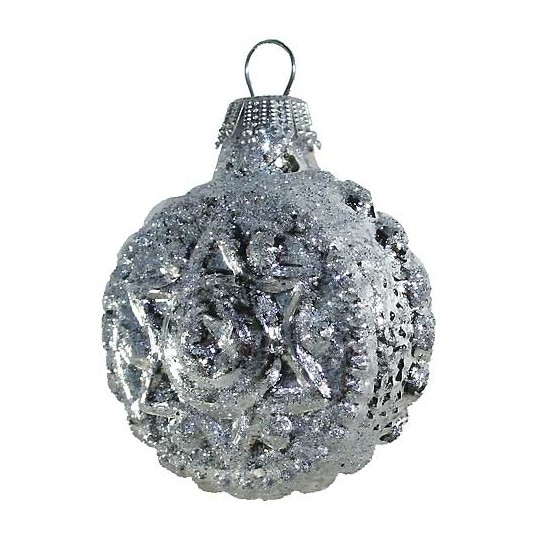 Shiny Silver Blown Glass Glittered Star and Flower Ornament ~ Germany