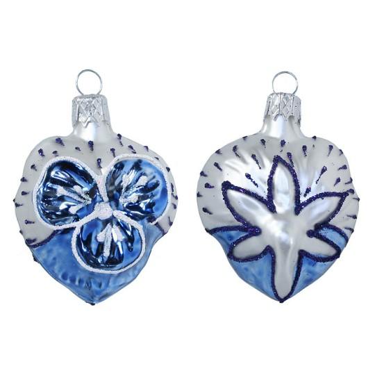 "Petite Blown Glass Blue and Matte White Pansy Ornament ~ Czech Republic ~ 2"" tall"