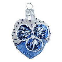 "Petite Blown Glass Blue and Matte White Pansy Ornament ~ Czech Republic ~ 2"" tall"