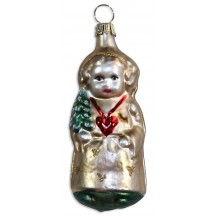 "Angel with Tree & Heart Blown Glass Ornament ~ Germany ~ 3-1/2"" tall"