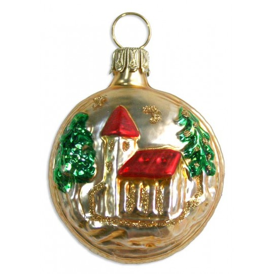 "Petite Church & Tree Blown Glass Ornament ~ Germany ~ 1-3/4"" tall"