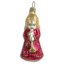 "Fuchsia Musical Angel Blown Glass Ornament ~ Germany ~ 3"" tall"