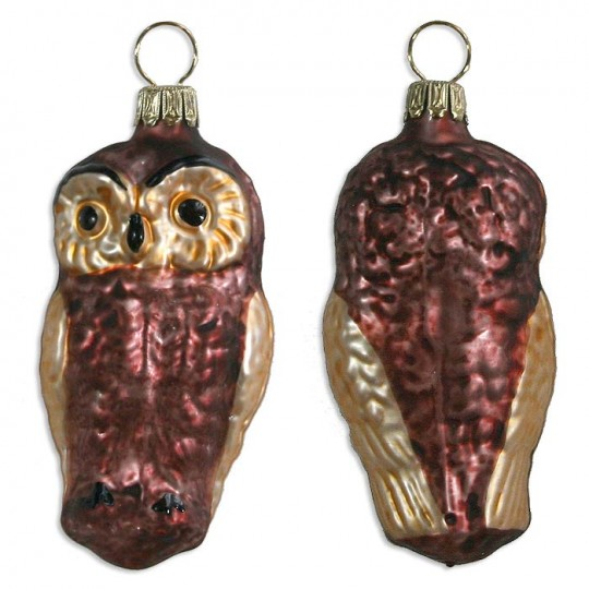 "Matte Brown Owl Blown Glass Ornament ~ Germany ~ 2-3/4"" tall"