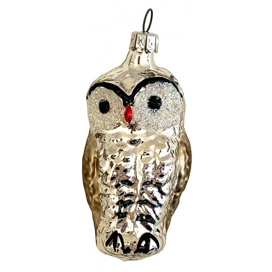 "Silver Owl Blown Glass Ornament ~ Germany ~ 2-3/4"" tall"