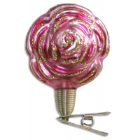 "Pink Clipping Rose Blown Glass Ornament ~ Germany ~ 2-3/4"" tall"