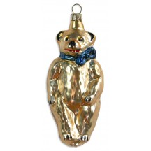 "Golden Bear Blown Glass Ornament ~ Germany ~ 4"" tall"