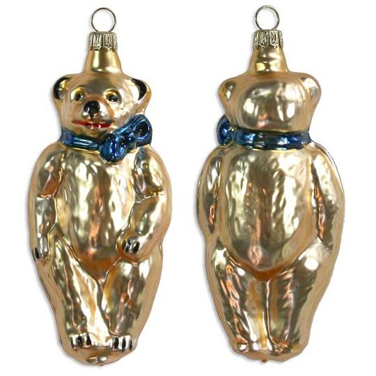 "Golden Bear Blown Glass Ornament ~ Germany ~ 4"" tall"