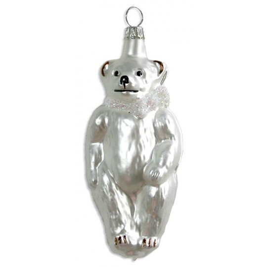 "Matte White Bear Blown Glass Ornament ~ Germany ~ 4"" tall"