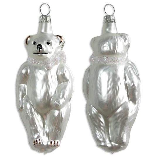 "Matte White Bear Blown Glass Ornament ~ Germany ~ 4"" tall"