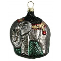 "Fancy Blown Glass Elephant Ornament ~ Germany ~ 3"" tall"