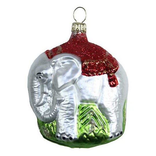"Fancy Blown Glass White Elephant Ornament ~ Germany ~ 3"" tall"