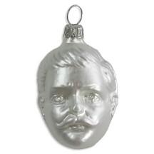 "Matte White Blown Glass Kaiser Wilhelm Ornament ~ Germany ~ 2-1/4"" tall"
