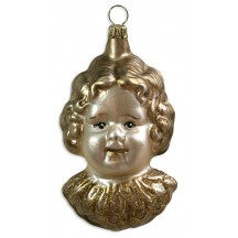 "Large Angel Head Blown Glass Ornament ~ Germany ~ 3-3/4"" tall"