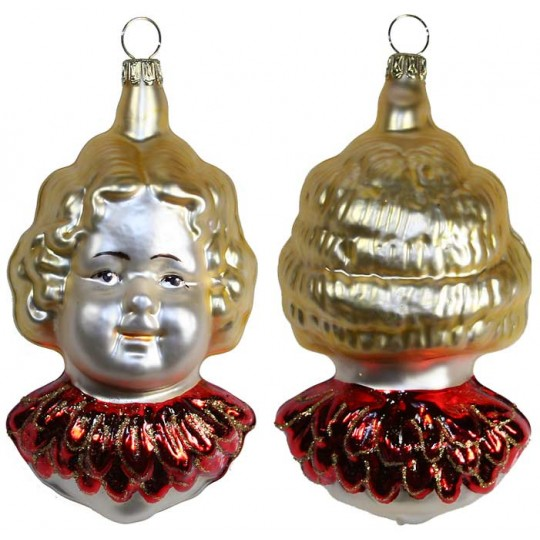 "Angel Head with Dark Red Wings Blown Glass Ornament ~ Germany ~ 3-3/4"" tall"
