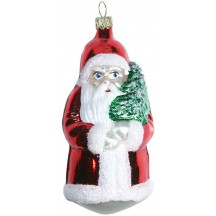 "Large Shiny Red Santa with Tree Blown Glass Ornament ~ Germany ~ 4-1/2"" tall"