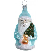 "Matte Aqua Blue Santa with Glittered Tree Blown Glass Ornament ~ Germany ~ 3"" tall"