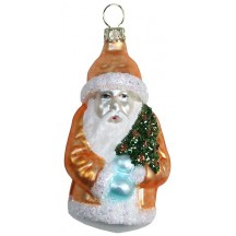 "Matte Copper Santa with Glittered Tree Blown Glass Ornament ~ Germany ~ 3"" tall"