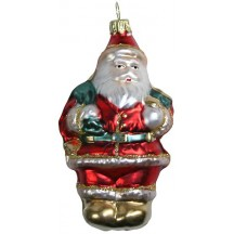 "Large Classic Santa with Bag Blown Glass Ornament ~ Germany ~ 4-1/4"" tall"