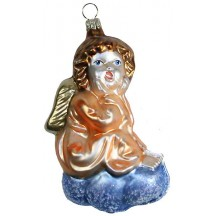 "Large Angel on Cloud Blown Glass Ornament ~ Germany ~ 4-1/4"" tall"