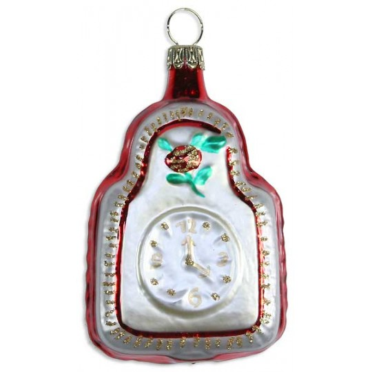 "Matte White Clock Blown Glass Ornament ~ Germany ~ 3"" tall"