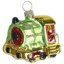 "Green and Gold Train Engine Ornament ~ Germany ~ 2"" tall"