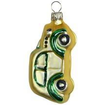 "Matte Gold Car Blown Glass Ornament ~ Germany ~ 3-1/8"" tall"