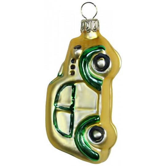 "Matte Gold Car Blown Glass Ornament ~ Germany ~ 3-1/8"" tall"