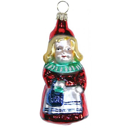 """Girl with Purse Blown Glass Ornament ~ Germany ~ 3-1/2"""" tall"""