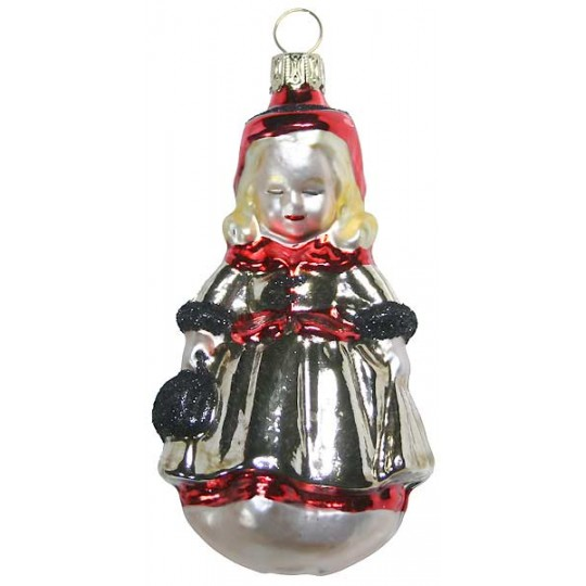 "Girl with Red Hat Blown Glass Ornament ~ Germany ~ 4"" tall"